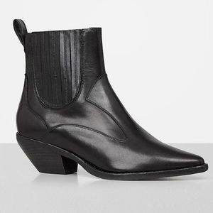 All Saints Black Leather Veras Pointed Boots